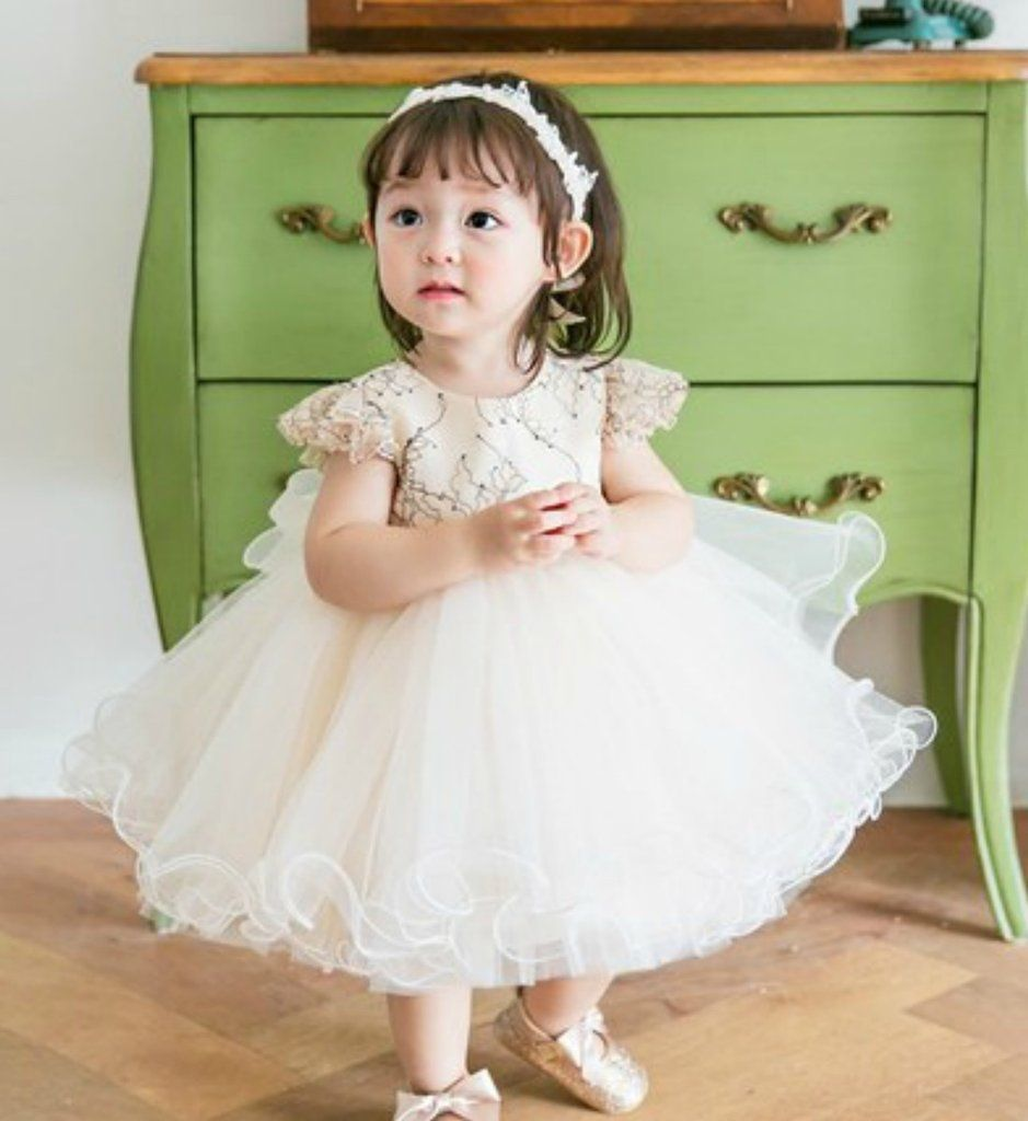 Light Champagne Flower Girl Dress Made To Order High Quality Light Champagne Baby Girl Curly Dress Perfe Pakaian Anak Anak Model Pakaian Anak Anak Pakaian Anak