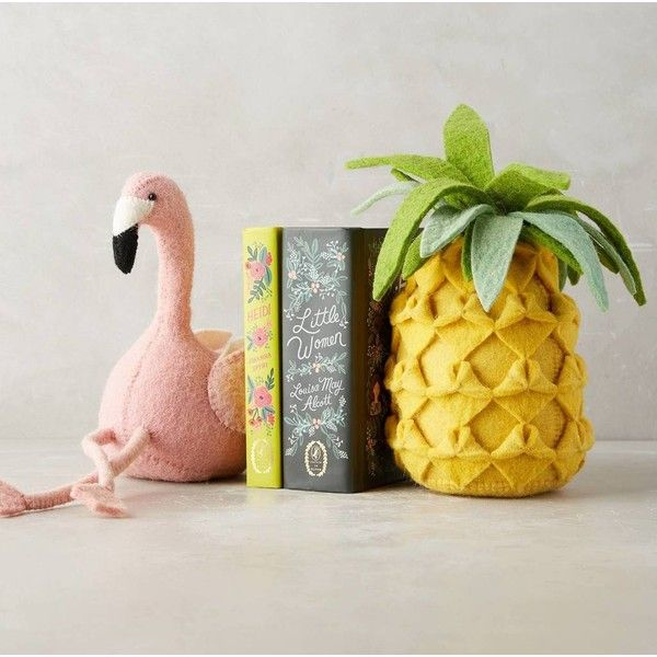 Elegant Karrie Barron Flamingo And Pineapple Felt Bookend ($43) ❤ Liked On Polyvore  Featuring Home, Home Decor, Small Item Storage, Pineapple Bookends,  Pineapple ...