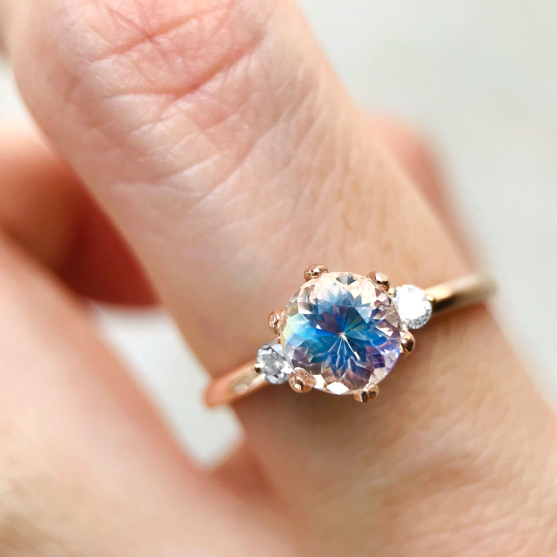 Rainbow Moonstone Ring, Moonstone Engagement Ring 14K 18K