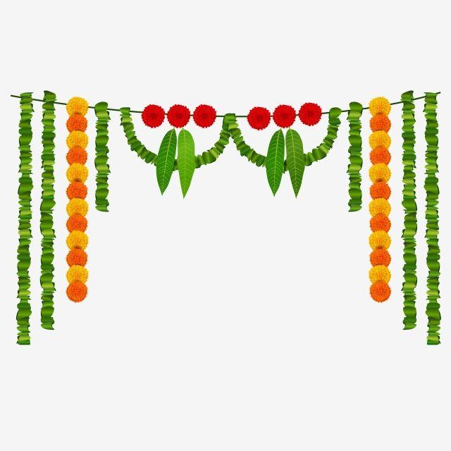 Mango Leaves Garland Marigold Flower Garland Vector And Png In 2020 Leaf Garland Marigold Flower Spring Flowers Background