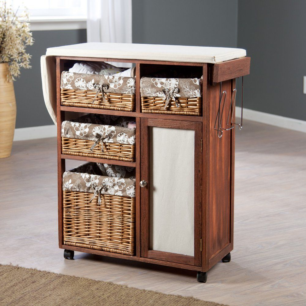 Deluxe Wood Wicker Ironing Board Center with Baskets ...