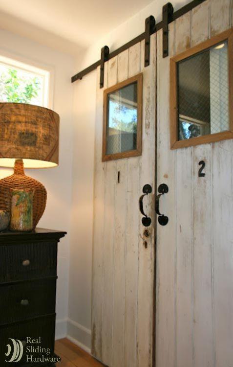 Two Vintage Doors From An Old Resort Repurposed As Sliding Closet Doors Vintage Doors Rustic Barn Door Hardware Closet Doors