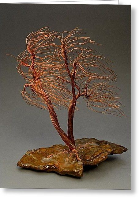Windswept Weeping Willow Copper Wire Tree Art Sculpture - 2258 - Free Shipping Greeting Card by Omer Huremovic
