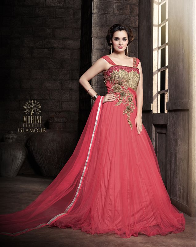 48a11fd18f Diya Mirza Designer Net Roman Red Party Wear Gown