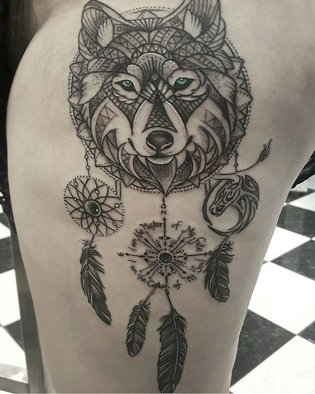 50 Of The Most Beautiful Wolf Tattoo Designs The Internet Has Ever Seen Dream Catcher Tattoo Wolf Dreamcatcher Tattoo Wolf Tattoos For Women