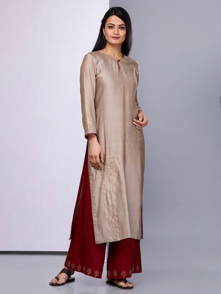 31d93abeea Buy Brown Embroidered Chanderi Silk Kurta with Maroon Palazzo - Set of 2  online at Theloom