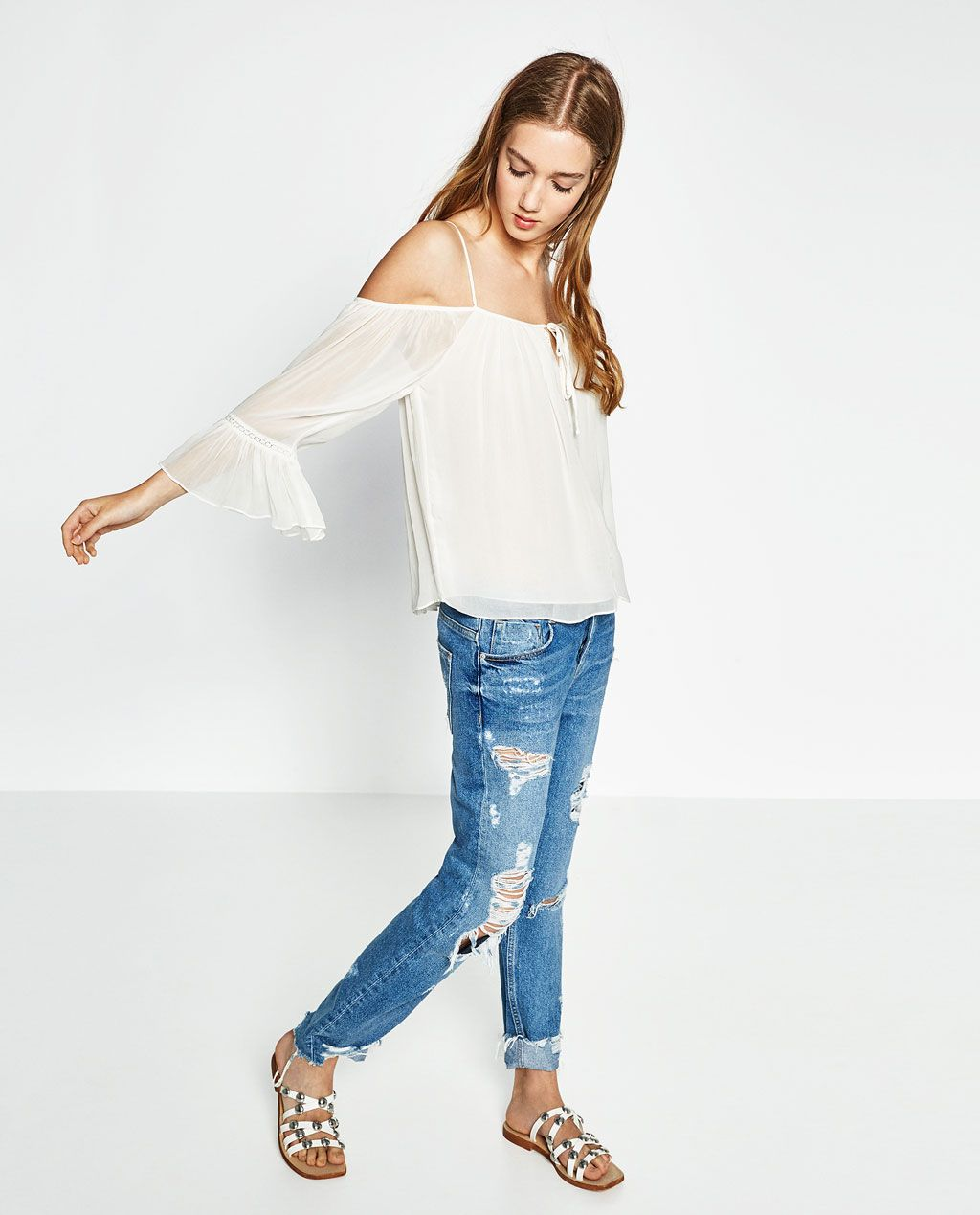 4d5d7fa2a92f00 Image 1 of OFF-THE-SHOULDER TOP from Zara