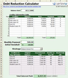 Free Debt Reduction Calculator For Excel  Debt Reduction