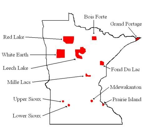 minnesota indians | Map of Minnesota's Indian Reservations and ... on mn region map, mn forest map, mn tribal map, mn town map,