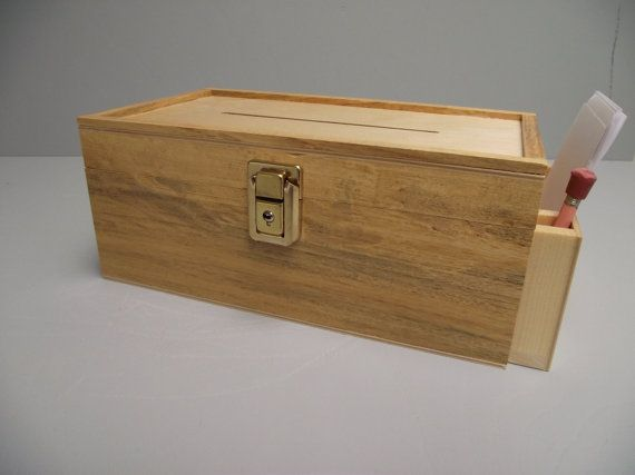Suggestion Box With Side Pocket Reclaimed Wood With Slot Key And Lock Hinged Natural Unpainted Finish Suggestion Box Favorite Things Gift Diy Office