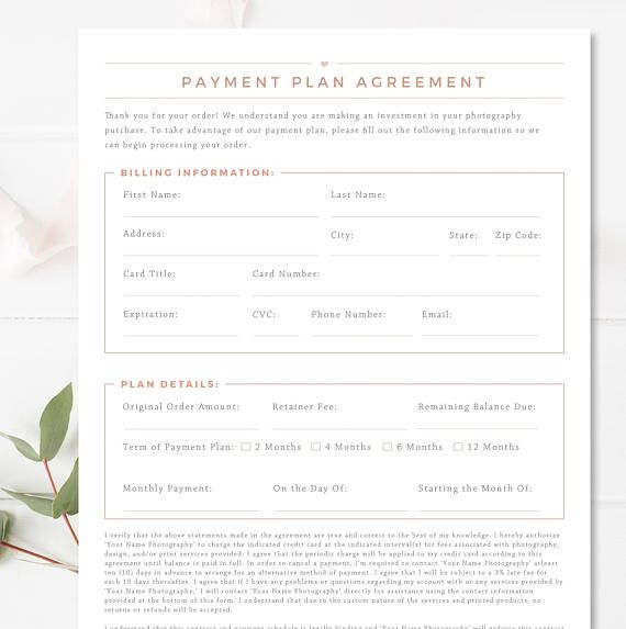 Payment Form Template New Photography Payment Plan Form Template  Business Forms For .