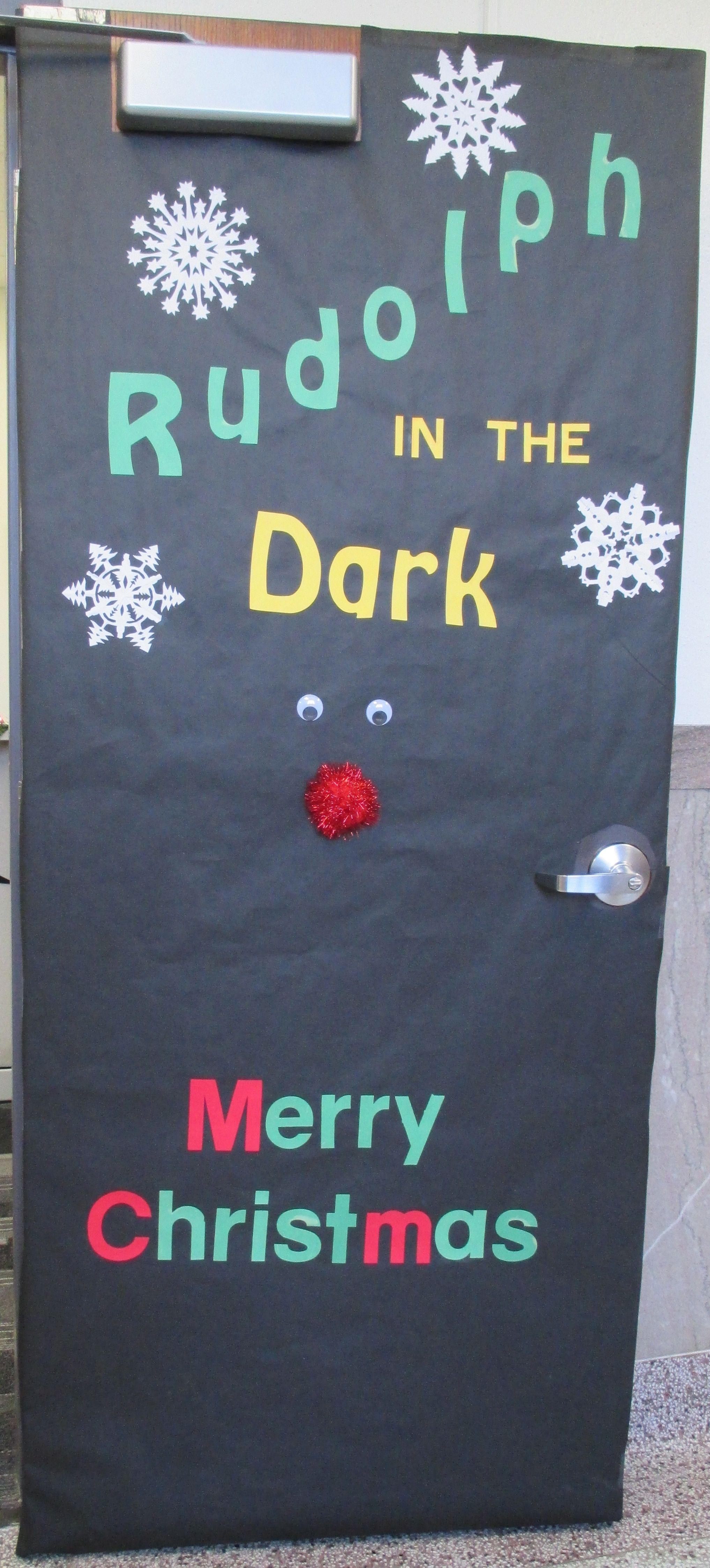 Rudolph In The Dark Door Holiday Door Decorations