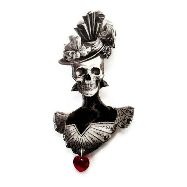 Victorian Skeleton Brooch Skull Red Heart Halloween Gothic Jewelry Sugar Skull Day of The Dead ($22) found on Polyvore