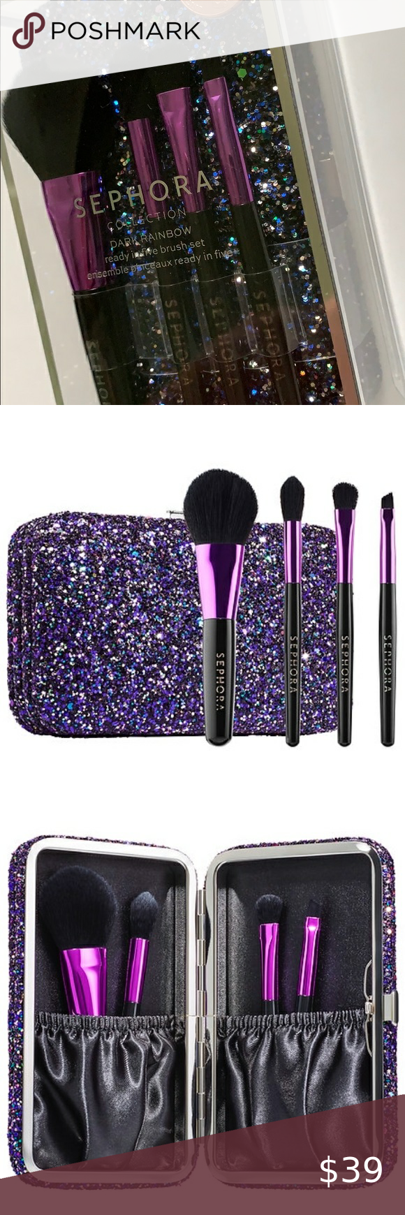 Sephora Glitter Makeup Brush Set Travel Case in 2020