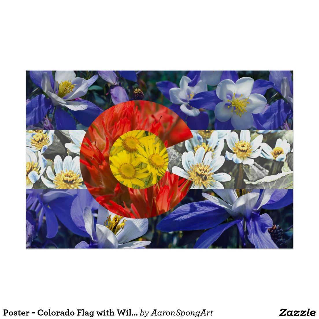 Poster colorado flag with wildflower textures columbines indian poster colorado flag with wildflower textures columbines indian paintbrush alpine sunflowers izmirmasajfo