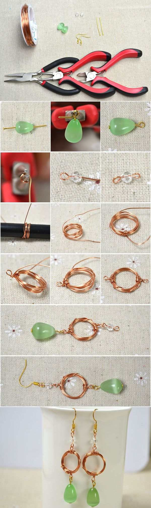 Tutorial on How to Make Simple Wire Wrapped Dangle Earrings from LC ...