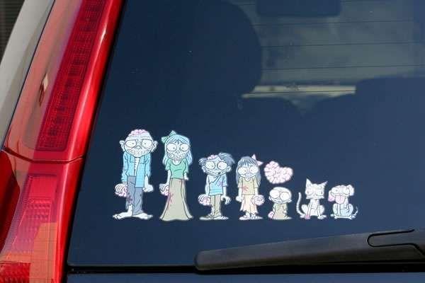 Creepy undead family photos zombie family car stickers