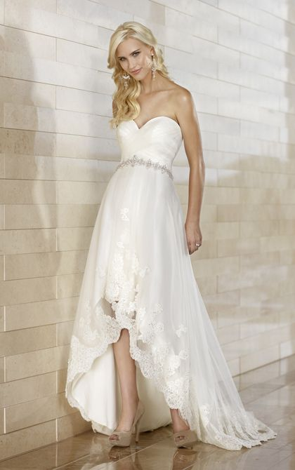 Beautiful Slim Wedding Dress With High Low Hemline By Essense Of Australia Style