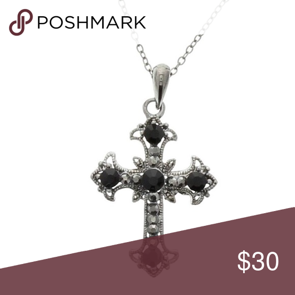 Black silver cross necklace fashion silver and black cross pendant black silver cross necklace fashion silver and black cross pendant necklace jewelry necklaces aloadofball Image collections