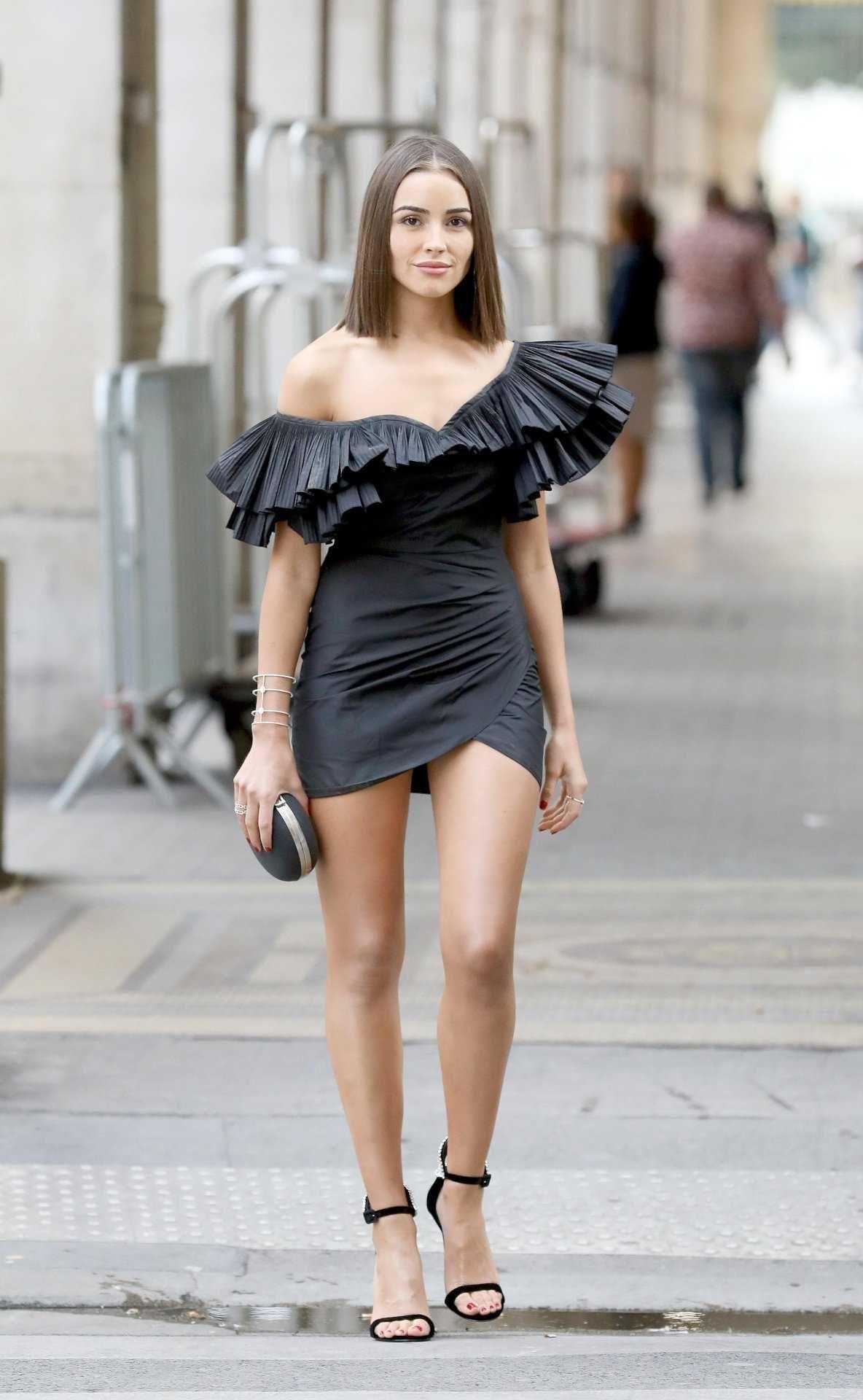Olivia Culpo Leggy Out And About In Paris Mini Dress Mini Black Dress Olivia Culpo [ 1920 x 1184 Pixel ]