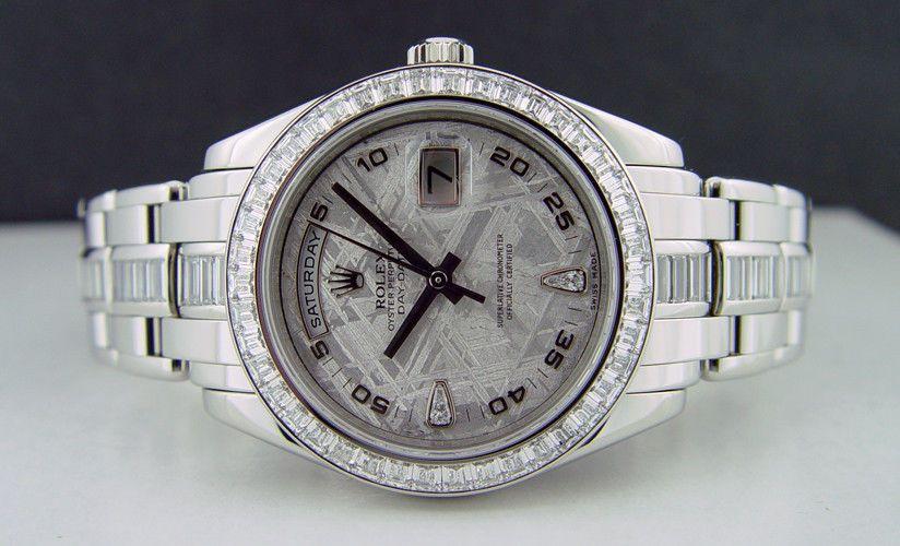 ROLEX , Mens 39mm Platinum Masterpiece Meteorite Diamond