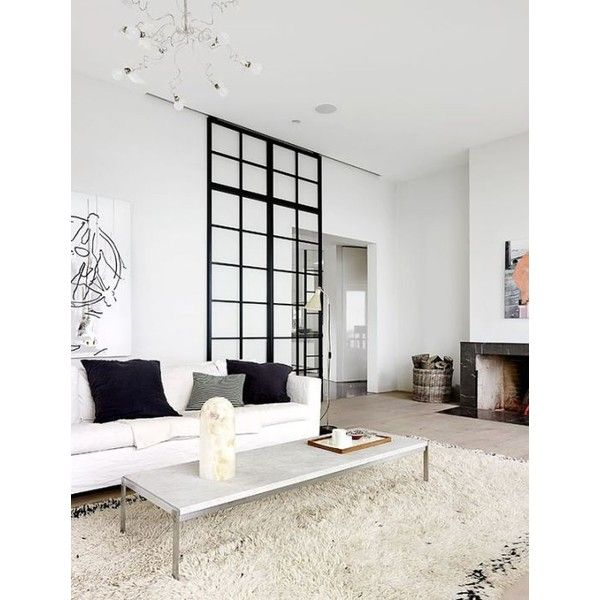 Micro Design Trend Factory Windows aka Black Metal-Framed Doors... ❤ liked on Polyvore featuring home, home decor, wall art, door wall art, white home decor, framed wall art and white framed wall art