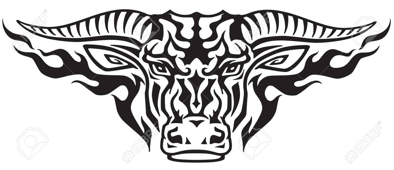 cc67ab25a taurus bull head in the flames . Front view tribal tattoo style vector  illustration
