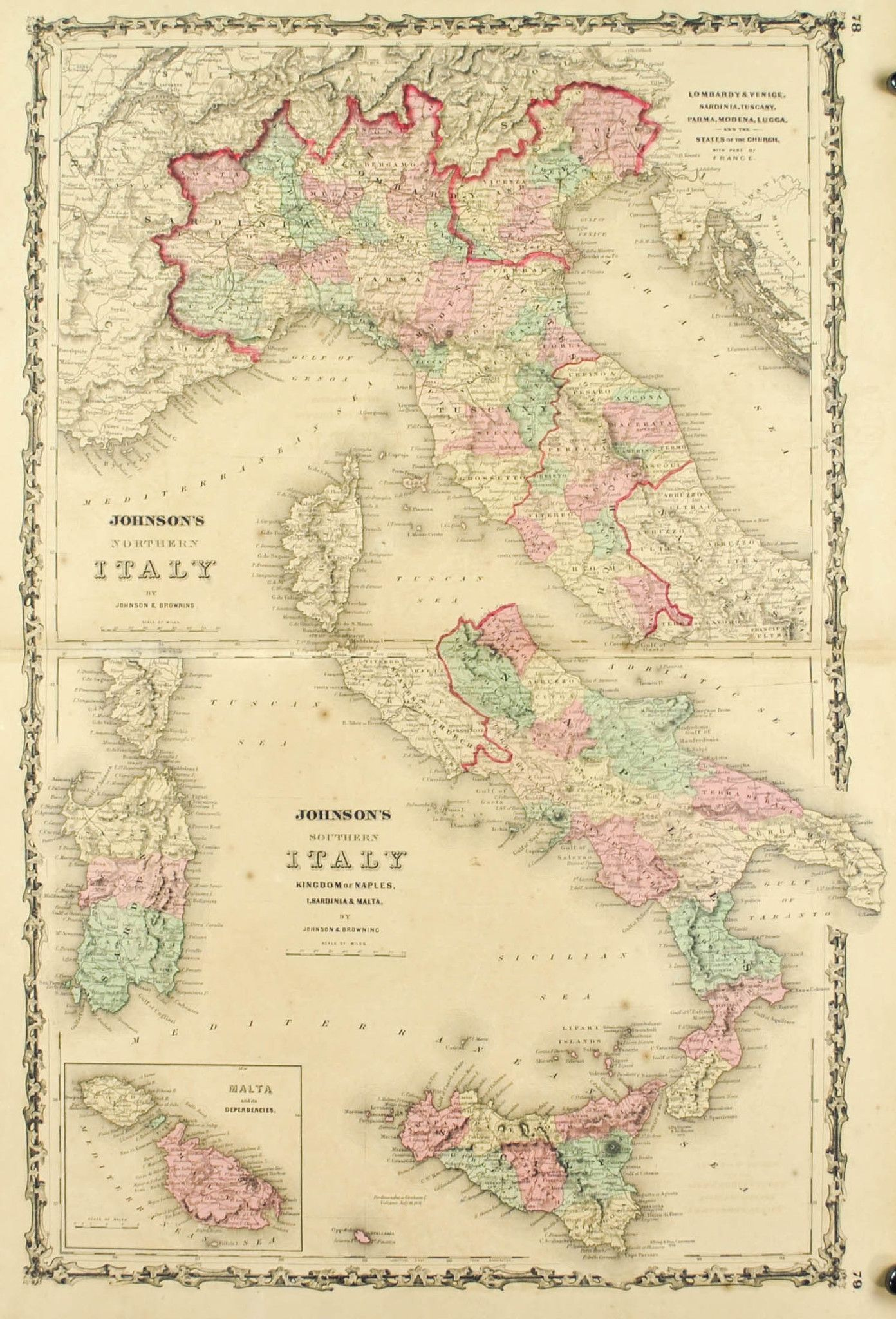 Italy Johnson Hand Colored Map 1860