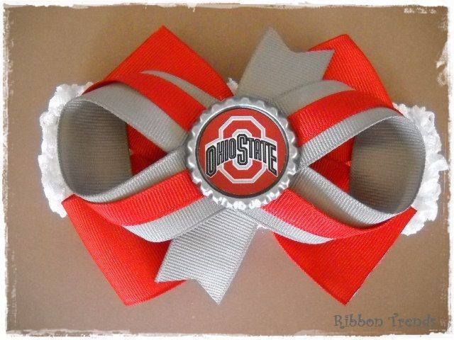 Ohio State Buckeye Bow Ohio State Baby Headband Ohio State Hairbow Ohio State Bow Baby Ohio State Ohio State Buckeye OSU Baby Headband