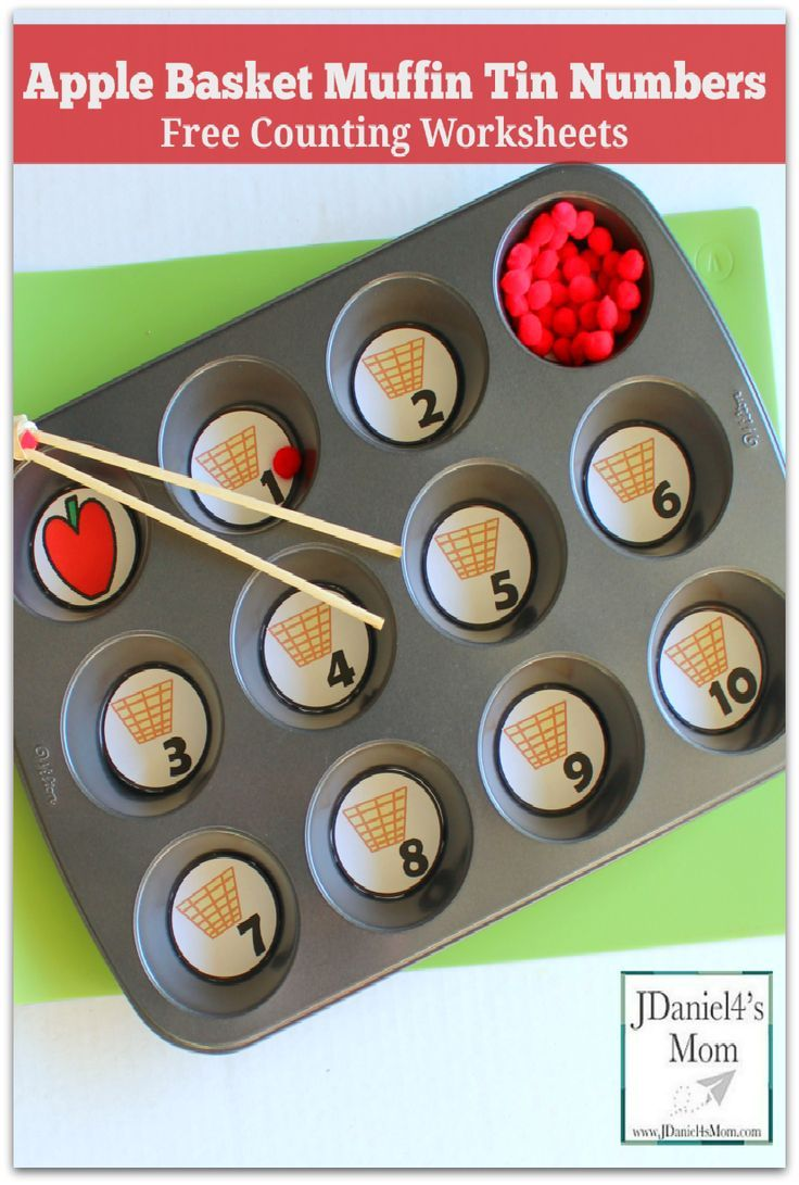Free Counting Worksheets Apple Basket Muffin Tin Numbers Apple Preschool Apple Baskets Apple Activities [ 1091 x 736 Pixel ]