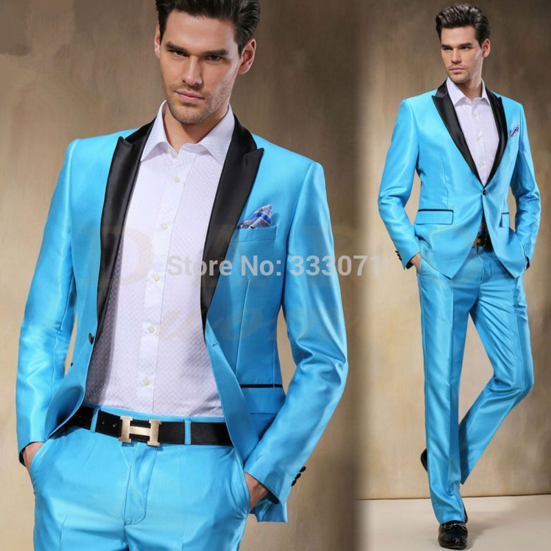 2016 New Arrival Sky Blue Satin Groom Tuxedos Slim Fit 2 Pieces Mens ...