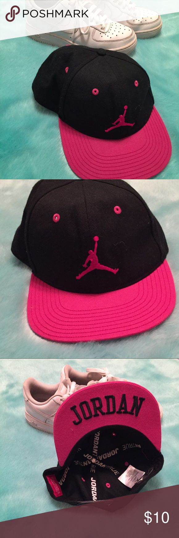 Air Jordan hat Black air Jordan baseball hat with a pink bill. Looks clean.  Youth size but I m 5 1 110 and it fits nice as a women s small. 01c90d74d
