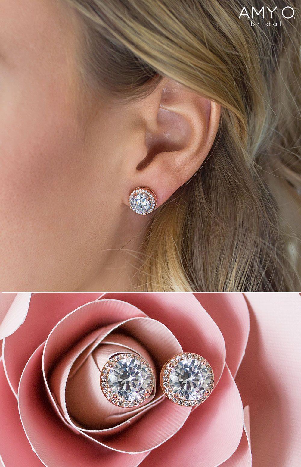Crystal Bridal Earrings Earrings For Bride Rose Gold Earrings Clip On Earrings Wedding Day Earrings In 2020 Bridal Earrings Studs Big Stud Earrings Bride Earrings