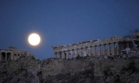 Supermoon over acropolis