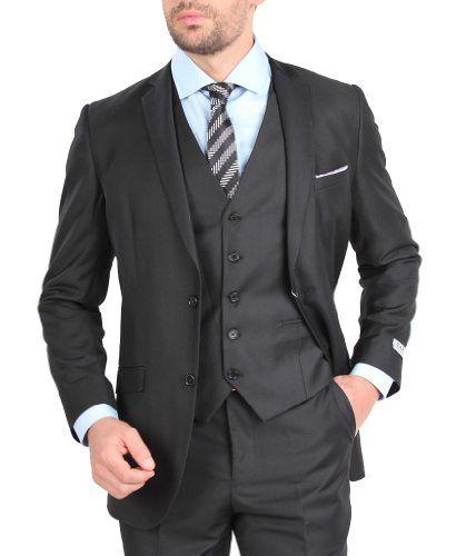 dd65c9d1b Tazio Mens Suit 2 Button 3 Piece Slim Fit Charcoal $108.00   I Want ...