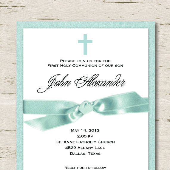First Communion Invitation Boy Teal Blue Communion invitations