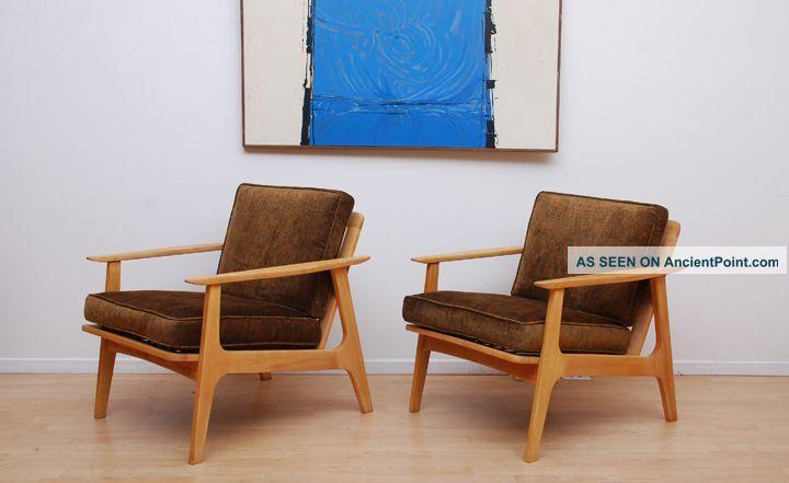 Mid Century Modern Japanese Lounge Chairs Blond Wood Eames Danish Retro Era Chair Lounge Chair Retro Era