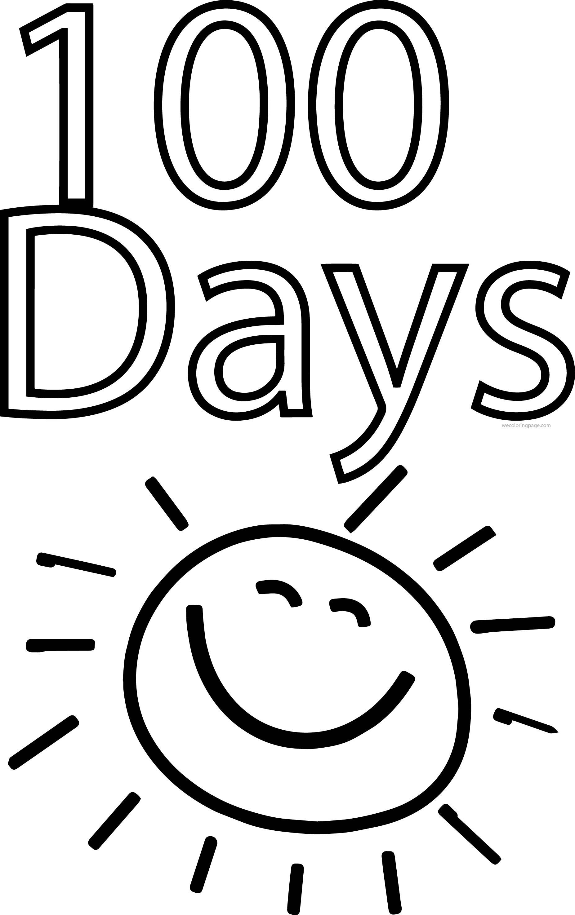 Nice 100 Days Of School Sun Coloring Page School Coloring Pages