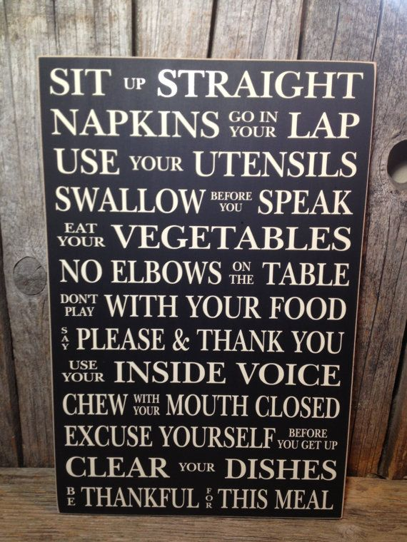 Dining Room Rules... Sit Up Straight Family Home Dinner Rules Sign