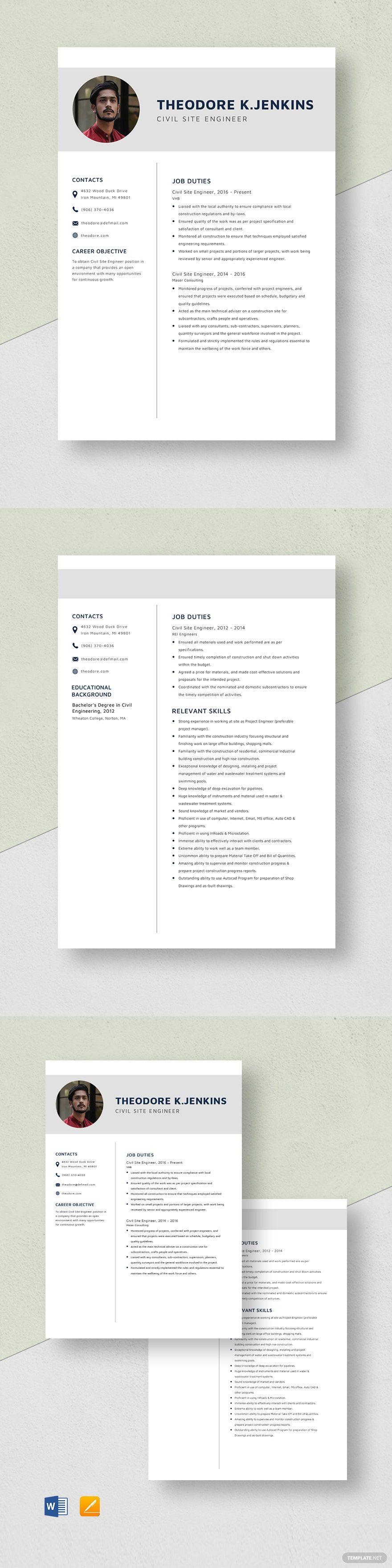 Civil site engineer resume template in 2020 resume