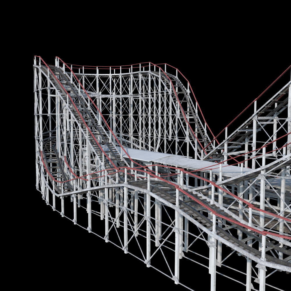 Coney Roller Coaster 3d Obj Roller Coaster Roller Coasters
