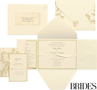 Gold Damask Printable Wedding Invitations Kit 30ct