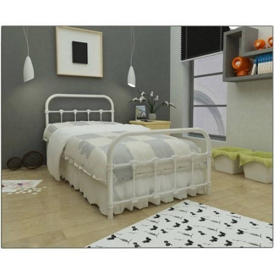 Twin loft bed craigslist  Metal Bed Twin Antique Frame Retro White Bedroom Steel Cast Iron