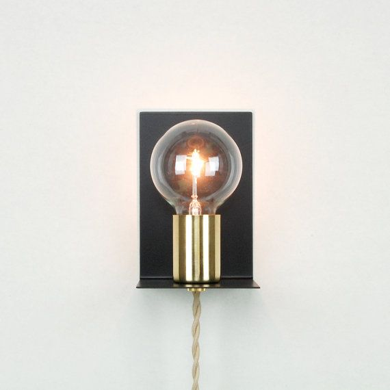 Plug In Wall Sconce With Socket Cup Steel Backplate 8 Twisted Cloth Cord Plug In Wall Sconce Sconces Wall Sconces