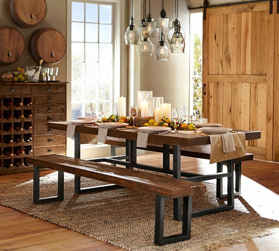 griffin reclaimed wood fixed dining table and wood benches pottery barn