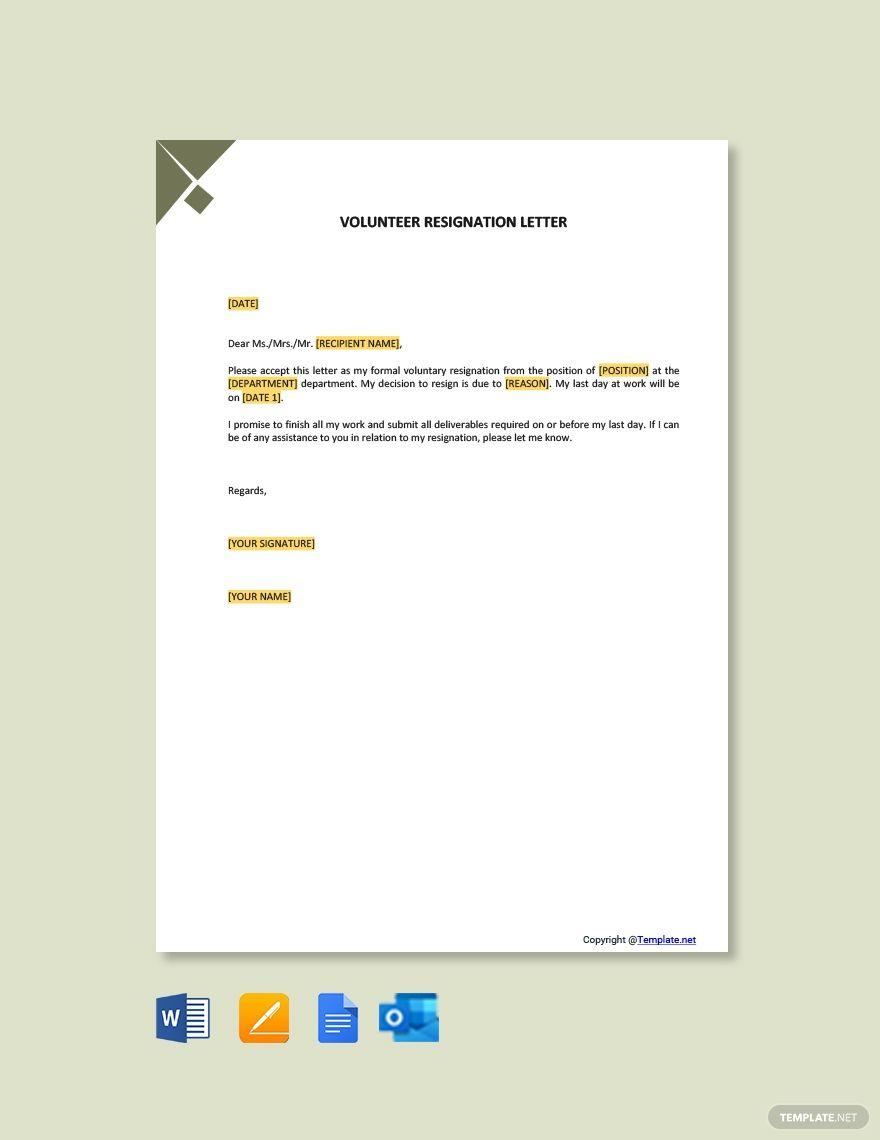 Free Volunteer Resignation Letter Ad Paid Volunteer Free Letter Resignation Resignation Letter Template Resignation Letter Lettering