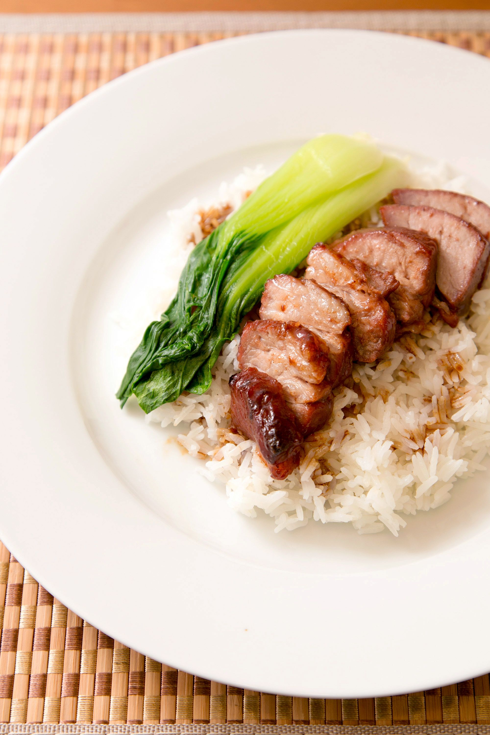 Cantonese style bbq pork over rice entree dishes bbq