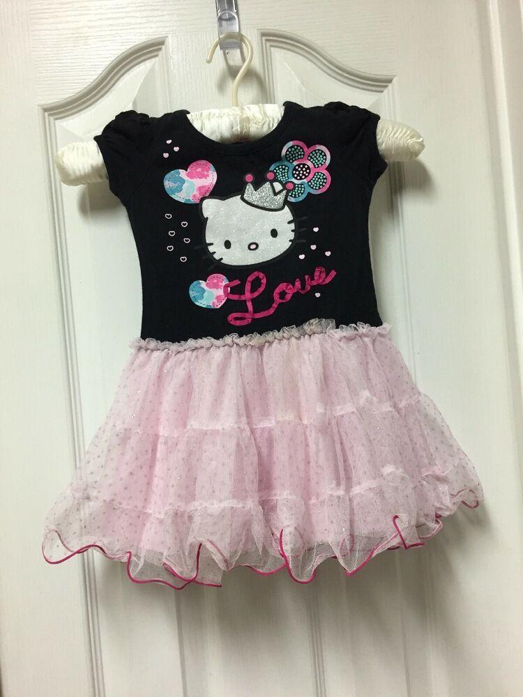 e071215d46b7e Hello Kitty Tutu Dress Baby Girl Toddler Size 2T Princess Pink CUTE ...