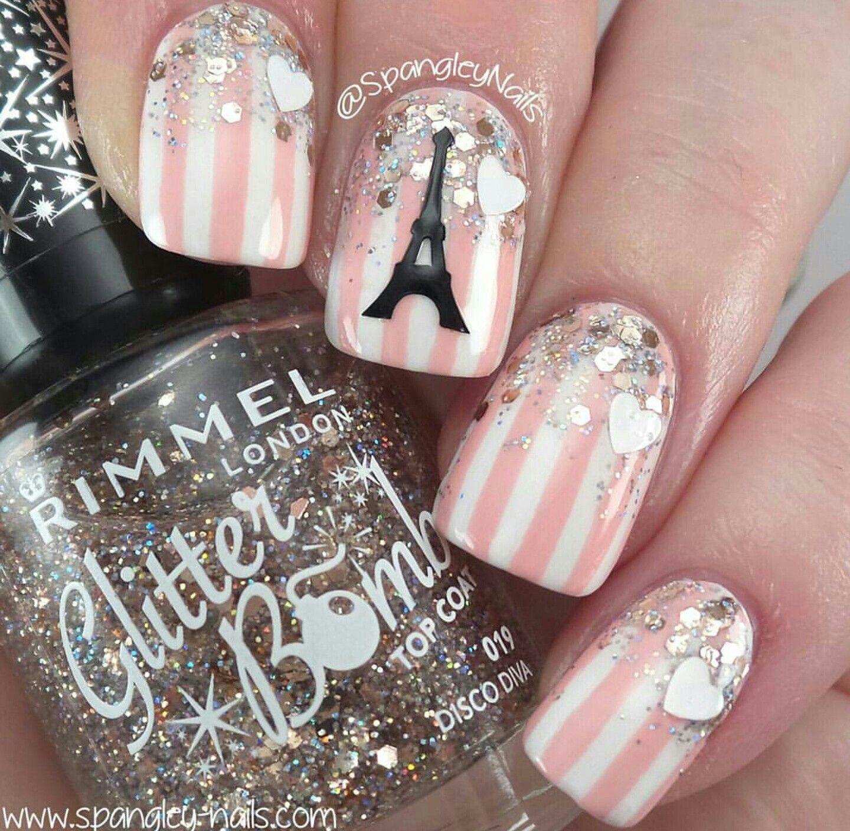 Eiffel Tower Paris nail art, striped nails | Nails | Pinterest ...