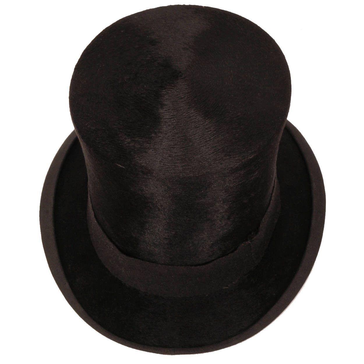 02fc88ae Antique Victorian Mens English Silk Plush Top Hat Medium 7 1/8 ...
